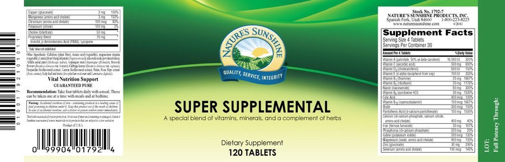 Super Supplemental Vit. & Min. (120 tabs) - Nature's Best Health Store