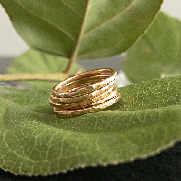 Clarise Gold Textured Stacking Rings available at Micky Chase Jewelry