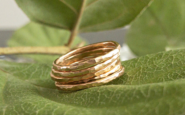 Clarisse Gold Textured Stacking Rings