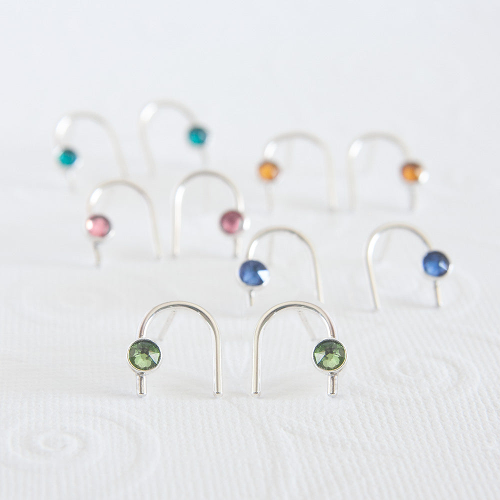 August Peridot Birthstone Earrings available at Micky Chase Jewelry