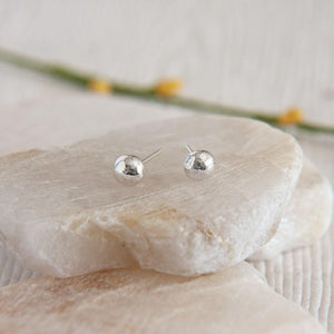 Erosion Sterling Silver Ball Stud Earrings available at Micky Chase Jewelry
