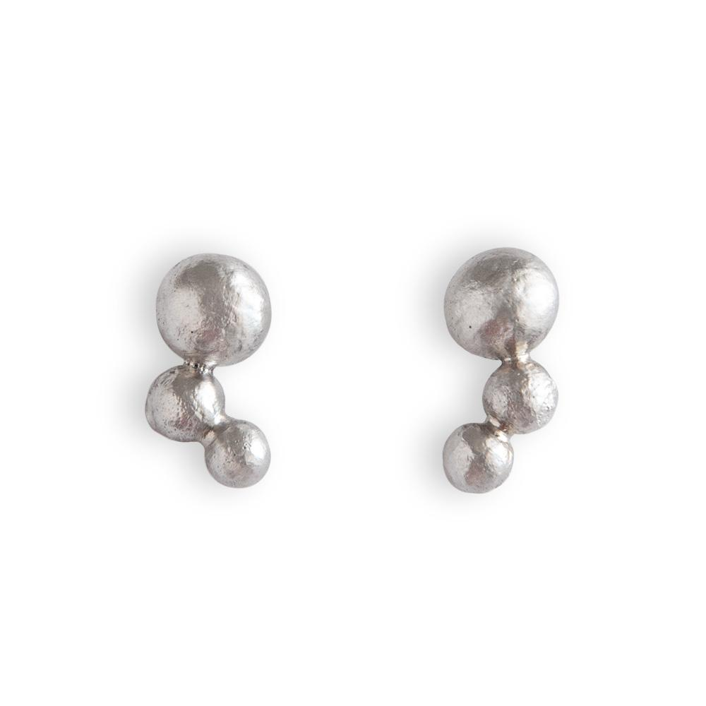 Erosion Trio Sterling Silver Ball Stud Earrings