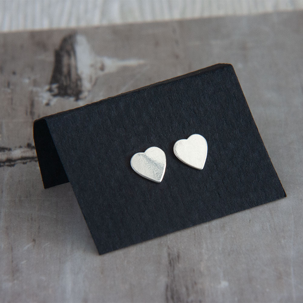 Sterling Silver Heart Earring Studs available at Micky Chase Jewelry