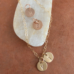 Personalized Initial Necklace in Sterling Silver, Gold and Rose Gold