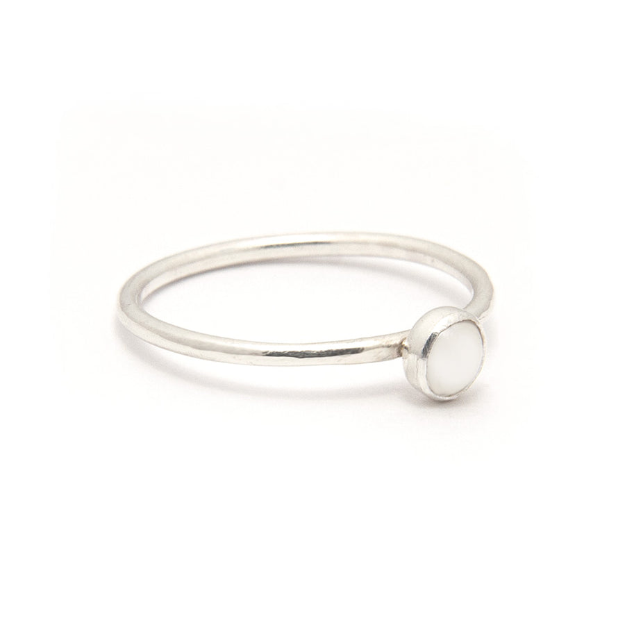 June Birthstone Pearl Stacking Ring available at Micky Chase Jewelry