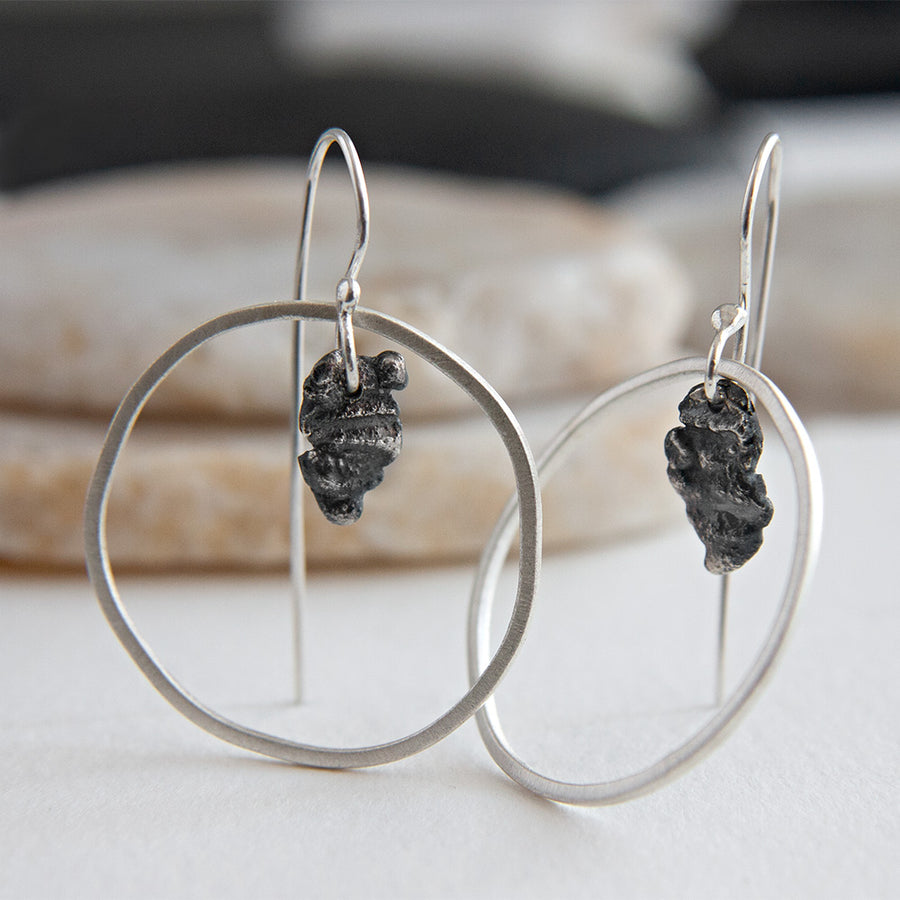 Surface Textured Sterling Silver Hoop Earrings