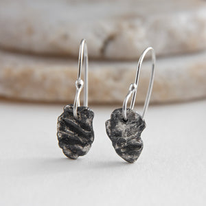 Surface Textured Sterling Silver Drop Earrings