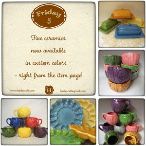 Five ceramics now available in custom colors - right from the item page!