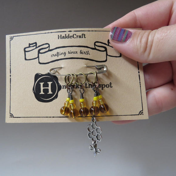 Bee stitch marker set in yellow