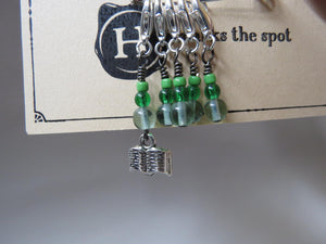 Book stitch marker set in green