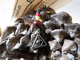 Deathly Hallows stitch marker set in maroon and gold