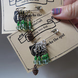 Pine cone stitch marker set in green