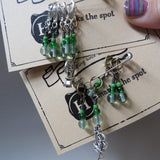 Spinning Wheel stitch marker set in green