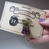 Spinning Wheel stitch marker set in purple
