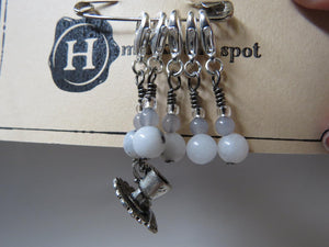 Teacup stitch marker set in gray