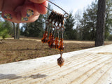 Acorn stitch marker set in brown