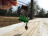 Acorn stitch marker set in green