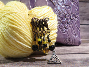 Deathly Hallows stitch marker set in black and yellow