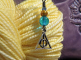 Deathly Hallows stitch marker set in blue and bronze