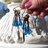 Feather stitch marker set in blue