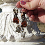 Turtle stitch marker set in brown