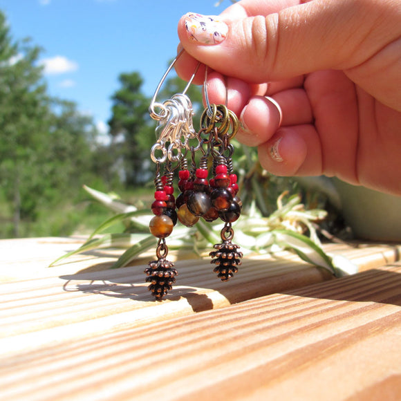 Pine cone stitch marker set in red