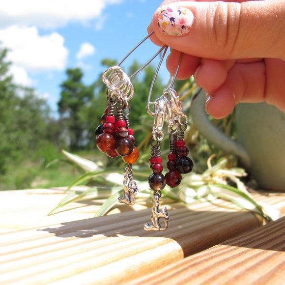 Cat stitch marker set in red