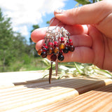 Feather stitch marker set in red