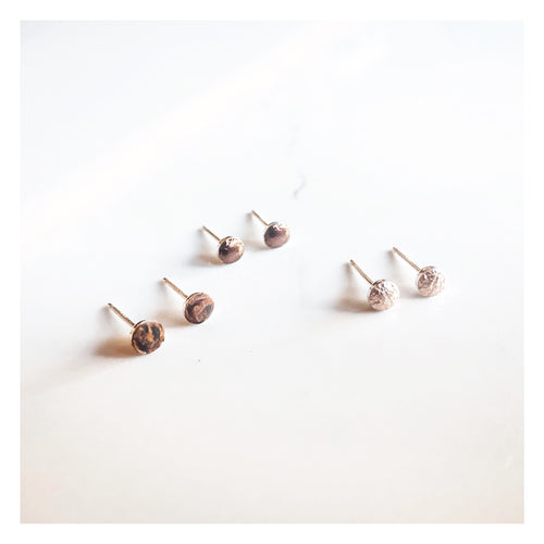 Tiny Studs - Rose Gold, Bronze, Distressed Brown