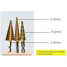 Load image into Gallery viewer, Titanium Coated Step Drill Bit