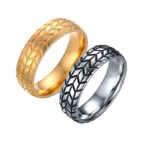Mad4Motors Tyre Gold & Silver Ring