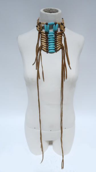 Indigenous Roots [Real Wood + Turquoise + Deerskin] Necklace