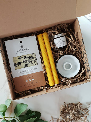 Beeswax candles and wraps gift set