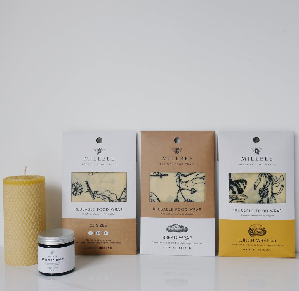 Millbee beeswax wraps (full range), beeswax candle and balm
