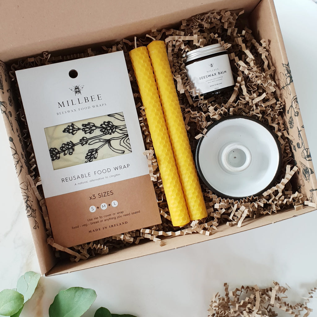 Beeswax wraps, balm and candles gift set