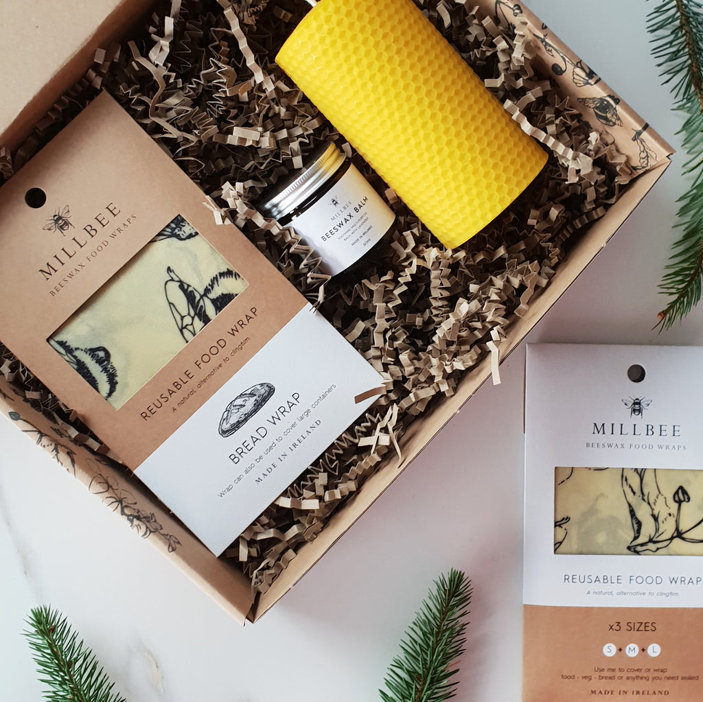 Beeswax wraps, balm and pillar candle gift set