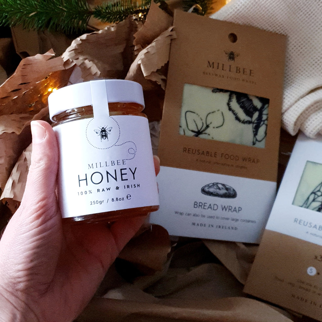 Millbee Foodie Gifts Bundle ~ Beeswax wraps (variety & bread wrap), local honey & organic cotton produce bag