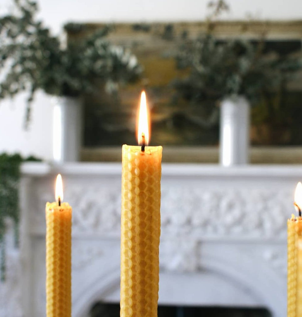 Beeswax candles & candlestick holder gift set