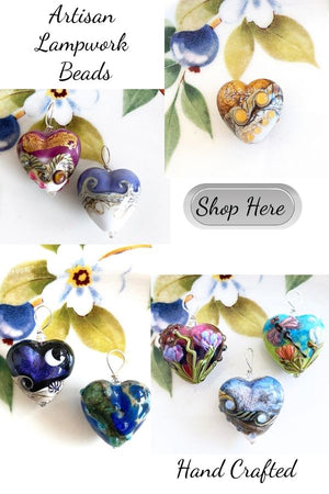 Our beautiful Lampwork Heart Beads and Venetian Heart Beads