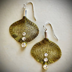 Golden Olivine Wire Mesh Ribbon Earrings
