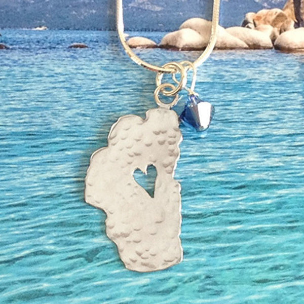 "Lake Tahoe Silver Necklace, 1"" Tahoe with Crystal"