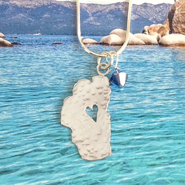 "Lake Tahoe Silver Necklace, 7/8"" Tahoe with Crystal"