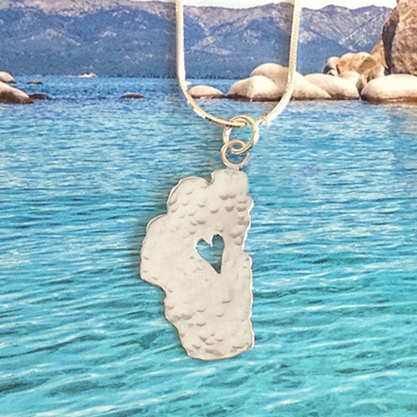 "Lake Tahoe Silver Necklace, 7/8"" Tahoe"