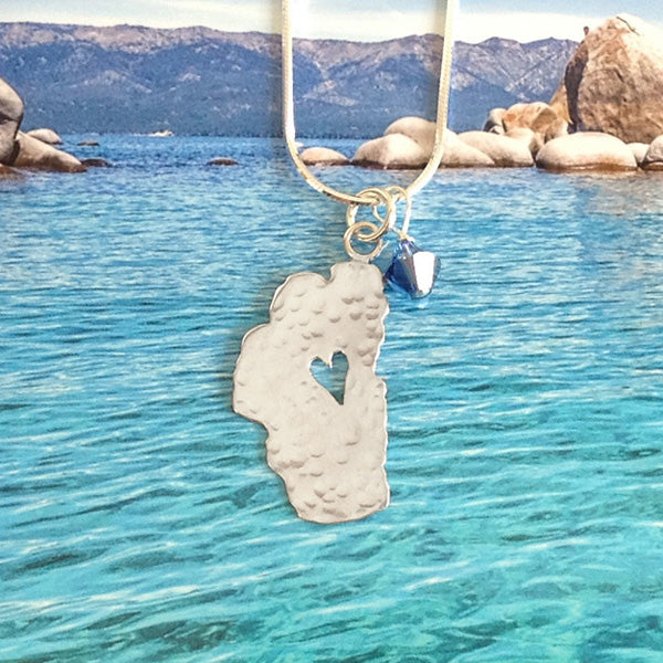 "Lake Tahoe Silver Necklace, 5/8"" Tahoe with Crystal"