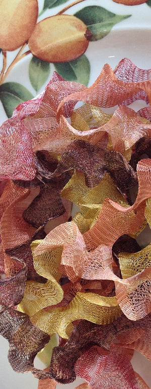 Titanium Mesh Ribbon, Crackling Leaves Assortment, Five 1 Meter pieces at a Discounted Price - Specialty Beads