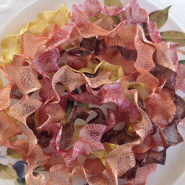 Titanium Mesh Ribbon, Crackling Leaves Assortment, Five 1 Meter pieces at a Discounted Price