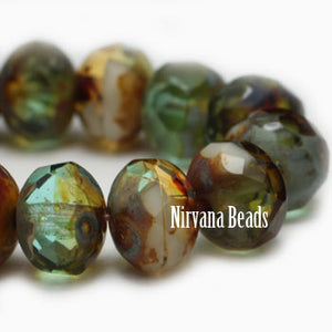 Green Amber Antique Czech Beads, 6x4mm