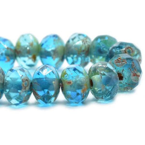 Capri Blue Czech Beads, 5x3mm - Specialty Beads