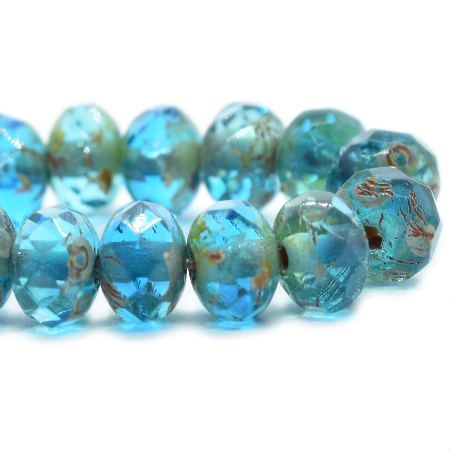 Capri Blue Czech Beads, 5x3mm