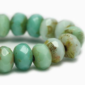 Turquoise and Aquamarine Czech Beads, 5x3mm - Specialty Beads